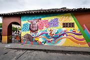 A mural honoring the indigenous Totonac culture by Teodoro Cano Garcia, in the Plaza Central Israel Tellez Park in Papantla, Veracruz, Mexico.
