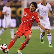 EAST RUTHERFORD, NEW JERSEY - JUNE 17:  Oscar Vilchez #16 of Peru in action during the Colombia Vs Peru Quarterfinal match of the Copa America Centenario USA 2016 Tournament at MetLife Stadium on June 17, 2016 in East Rutherford, New Jersey. (Photo by Tim Clayton/Corbis via Getty Images)