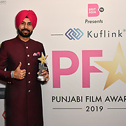 Binnu Dhillon receive an award at the BritAsiaTV Presents Kuflink Punjabi Film Awards 2019 at Grosvenor House, Park Lane, London,United Kingdom. 30 March 2019