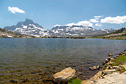 Midday view across 1000 Island Lake; Ansel Adams Wilderness, Inyo National Forest, Sierra Nevada Mountains, California, USA.