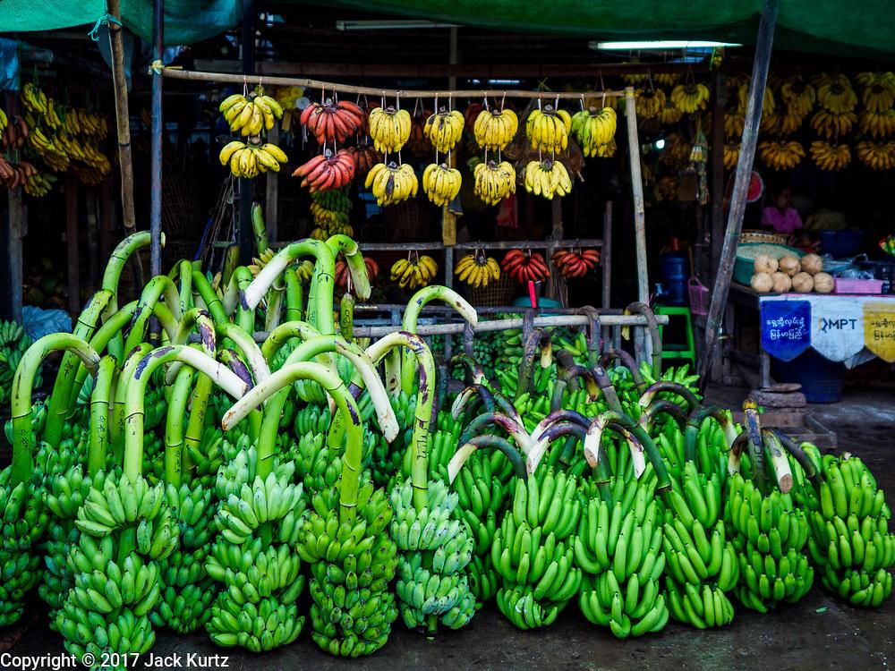 23 NOVEMBER 2017 - YANGON, MYANMAR: Bananas for sale in a small market next to the San Pya Fish Market in Yangon.     PHOTO BY JACK KURTZ