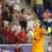 Luis Robles, New York Red Bulls, celebrates victory  after the New York Red Bulls Vs NYCFC, MLS regular season match at Red Bull Arena, Harrison, New Jersey. USA. 10th May 2015. Photo Tim Clayton