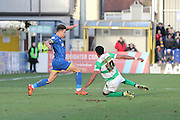David Fitzpatrick of AFC Wimbledon and Shaun Jeffers of Yeovil Town FC to the ball during the Sky Bet League 2 match between AFC Wimbledon and Yeovil Town at the Cherry Red Records Stadium, Kingston, England on 30 January 2016. Photo by Stuart Butcher.