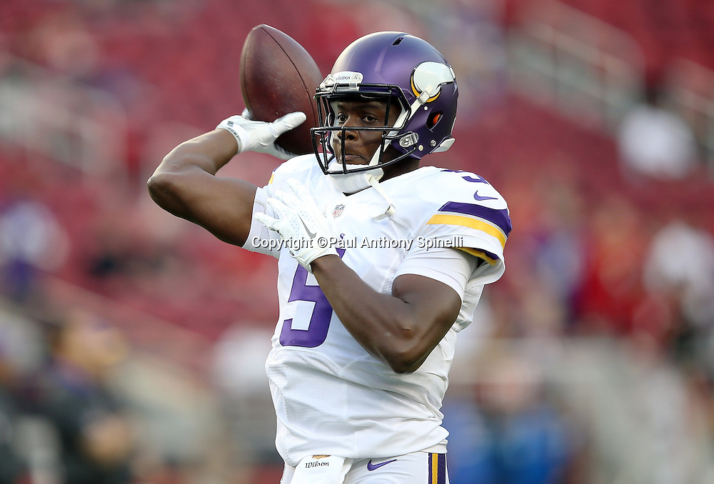 Minnesota Vikings quarterback Teddy Bridgewater (5) throws a pass during pregame warmups before the 2015 NFL week 1 regular season football game against the San Francisco 49ers on Monday, Sept. 14, 2015 in Santa Clara, Calif. The 49ers won the game 20-3. (©Paul Anthony Spinelli)