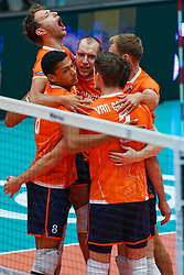 10-08-2019 NED: FIVB Tokyo Volleyball Qualification 2019 / Belgium - Netherlands, Rotterdam<br /> Third match pool B in hall Ahoy between Belgium vs. Netherlands (0-3) for one Olympic ticket / Wessel Keemink #2 of Netherlands, Fabian Plak #8 of Netherlands, Wouter Ter Maat #16 of Netherlands