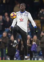 Football - 2016 / 2017 Premier League - Chelsea vs. Stoke City <br /> <br /> Kurt Zouma of Chelsea warms up before kick off at Stamford Bridge.<br /> <br /> COLORSPORT/DANIEL BEARHAM