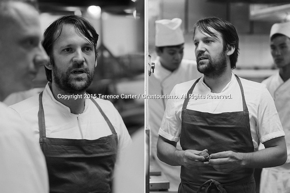 The Grand Gelinaz! Shuffle on July 9th 2015 Noma at Nahm, Bangkok<br /> <br /> Ren&eacute; Redzepi chats to the Nahm chefs about service before the staff briefing. Copyright 2015 Terence Carter / Grantourismo. All Rights Reserved.