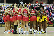 England Women and Uganda huddle after during the Netball World Cup 2019 Preparation match between England Women and Uganda at Copper Box Arena, Queen Elizabeth Olympic Park, United Kingdom on 30 November 2018.