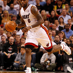 March 3, 2011; Miami, FL, USA; Miami Heat small forward LeBron James (6)  during the third quarter against the Orlando Magic at the American Airlines Arena. The Magic defeated the Heat 99-96.    Mandatory Credit: Derick E. Hingle