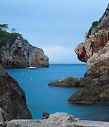 The small cove of Cala Deia, near the village of Deia Mallorca, Balearic Islands.