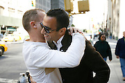 Saturday October 14th 2006. New York, New York. United States..Red Bulls French soccer player Youri Djorkaeff hugs his cousin Jean-Paul in front of L'Express on Park Avenue in the morning of a game that could be his last one as a professional player against Kansas City at the Giants Stadium.