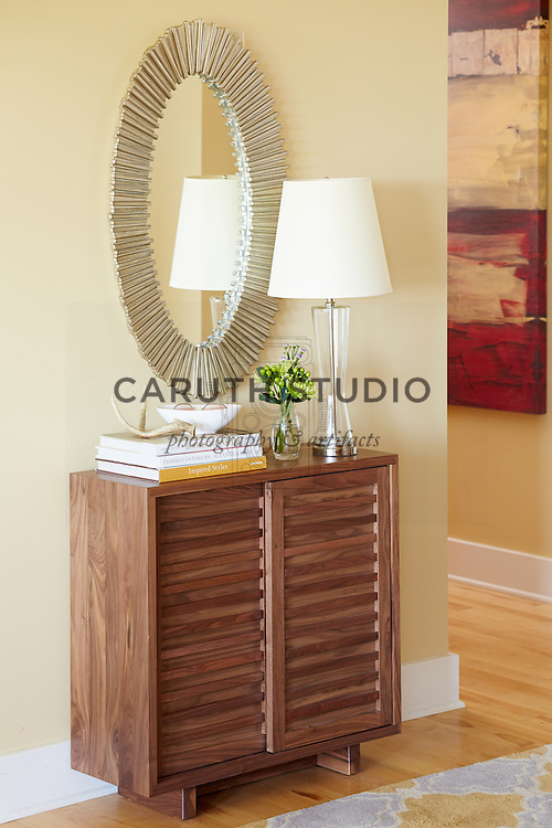 How to Style an Entry Table: Styled cabinet in entry