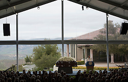 The casket of former U.S. First Lady Nancy Reagan is seen at her funeral at the Ronald Reagan Presidential Library in Simi Valley, California, March 11, 2016. Nancy Reagan's funeral was held here on Friday morning. She died of heart failure last Sunday at the age of 94. EXPA Pictures © 2016, PhotoCredit: EXPA/ Photoshot/ Yang Lei<br /> <br /> *****ATTENTION - for AUT, SLO, CRO, SRB, BIH, MAZ, SUI only*****