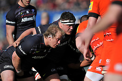 Petrus du Plessis and Jamie George of Saracens in action at a scrum - Photo mandatory by-line: Patrick Khachfe/JMP - Mobile: 07966 386802 11/04/2015 - SPORT - RUGBY UNION - London - Allianz Park - Saracens v Leicester Tigers - Aviva Premiership