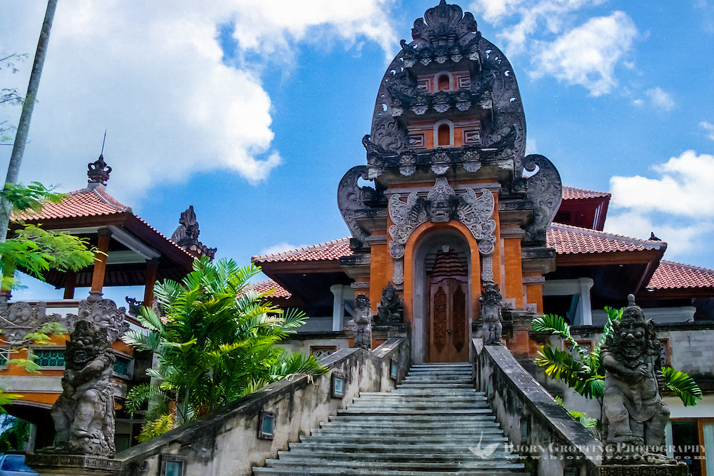 Bali, Gianyar. Administration building, Balinese style.