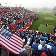 Ryder Cup 2016. Day One. Andy Sullivan of Europe tees off at the first hole in the Friday morning foursomes during the Ryder Cup competiton at the Hazeltine National Golf Club on September 30, 2016 in Chaska, Minnesota.  (Photo by Tim Clayton/Corbis via Getty Images)