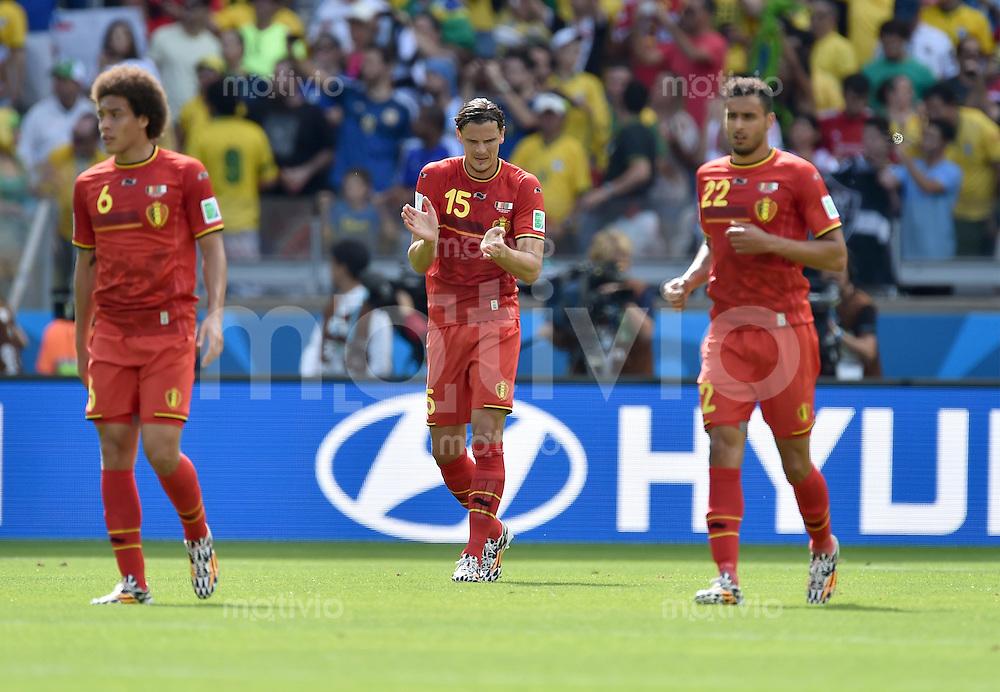 FUSSBALL WM 2014  VORRUNDE    Gruppe H     Belgien - Algerien                       17.06.2014 Axel Witsel, Daniel van Buyten und Nacer Chadli (v.l., alle Belgien) sind nach dem 0:1 enttaeuscht