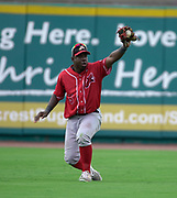 July 19, 2017 Sugarland, Texas: Lancaster Barnstormers centerfielder Lastings Milledge (5) Make a awesome catch in a 3-1 win against the Sugarland Skeeters.  (Photo By: Jerome Hicks/ Space City Images)