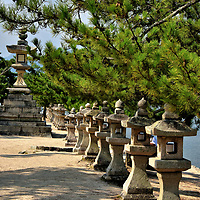 Row of Pedestal Lanterns at Miyajima, Japan<br />