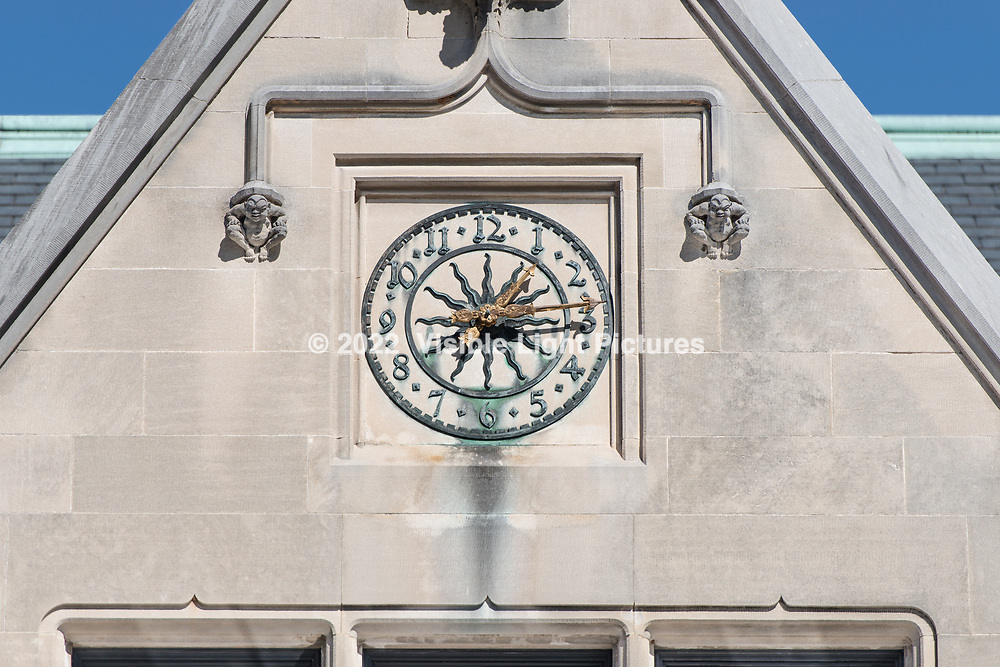 A clock in the courtyard at the Biltmore Estate