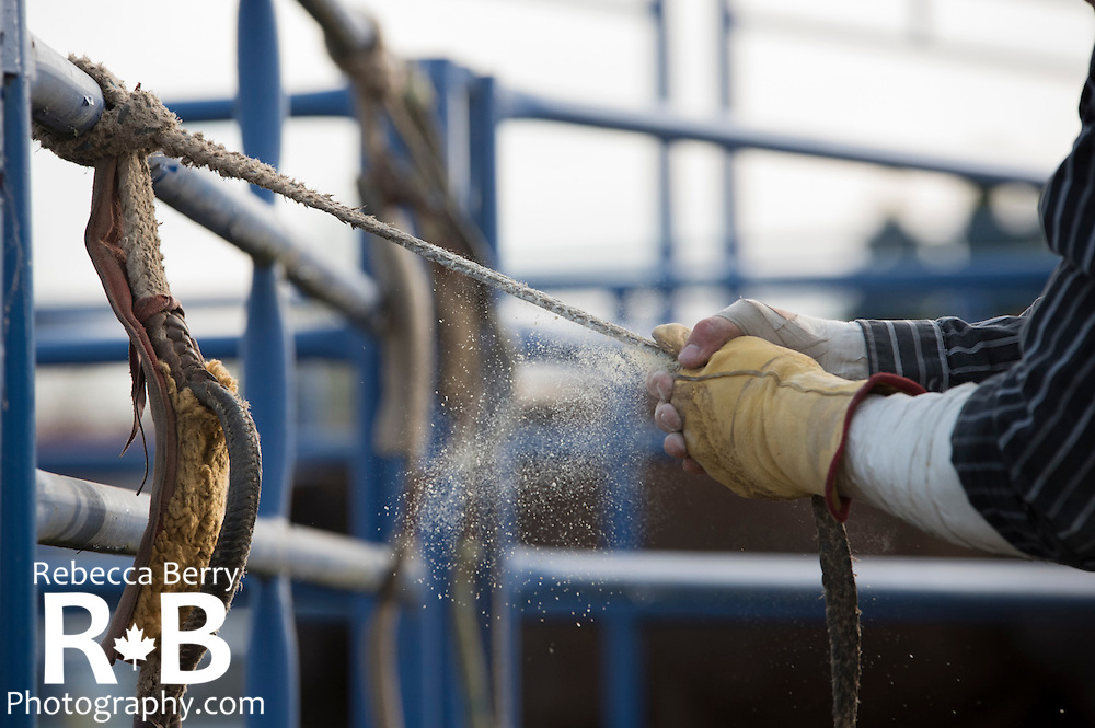 The quiet side of rodeo that often goes unseen. Mighty Fraser Pro Rodeo during Agrifair in Abbotsford B.C. July 31 - August 2, 2015.