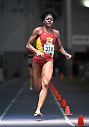 Feb 25, 2017; Seattle, WA, USA; Deanna Hill runs the third leg on the Southern California women's 4 x 400m relay that equaled the meet record of 3:32.54 during the MPSF Indoor Championships at the Dempsey Indoor.