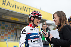 Ashleigh Moolmann-Pasio (RSA) of Cervélo-Bigla Cycling Team gives a quick interview before the start of the Aviva Women's Tour 2016 - Stage 4. A 119.2 km road race from Nottingham to Stoke-on-Trent, UK on June 18th 2016.