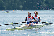 Hazewinkel, Belgium.  CZE JM2- Bow Miroslav JECH and Lukas HELESIC,  as they move away from the start of their morning heat in the junior men's pair.  2014 European Junior Championships, Bloso, Rowing Course, Heindonk, Willebroek, near Mechelen, <br /> 10:39:37  Saturday  24/05/2014<br /> [Mandatory Credit: Peter Spurrier/Intersport<br /> Images]