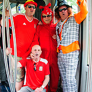 Wales fans travel by tram to Stade Matmut Atlantique in Bordeaux, ahead of their country's historic debut in the tournament. Images from  UEFA EURO 2016, 11 June 2016. Photo: Paul J Roberts | RobertsSports Photo. All Rights Reserved