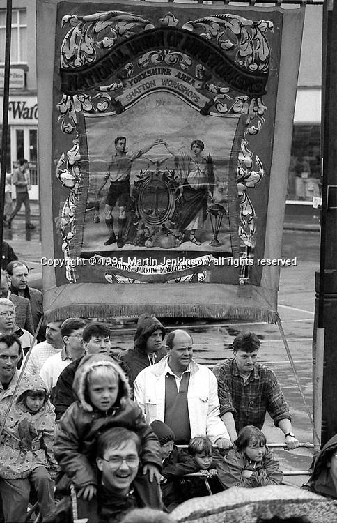 Shafton Workshops Branch banner. 1991 Yorkshire Miners Gala. Doncaster.