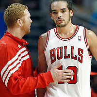 16 March 2012: Chicago Bulls power forward Brian Scalabrine (24) talks to Chicago Bulls center Joakim Noah (13) during the Portland Trail Blazers 100-89 victory over the Chicago Bulls at the United Center, Chicago, Illinois, USA.