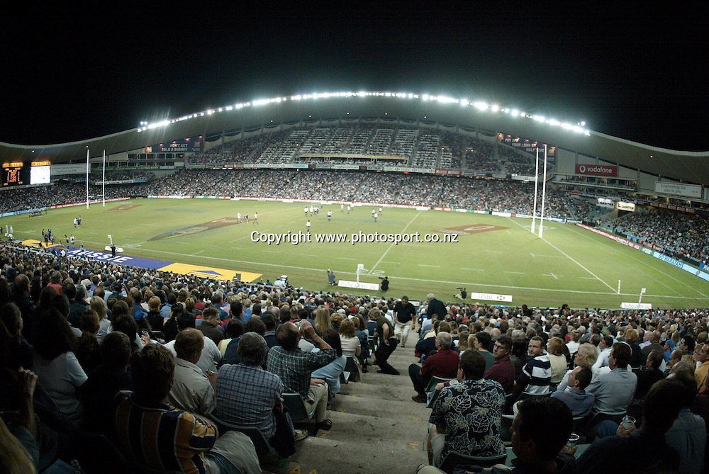 View from the stands during the rugby union Super 12 match between the Waratahs and Highlanders at Sydney Football Stadium, 13 April, 2002. Photo: Sandra Teddy/PHOTOSPORT<br />