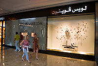 Louis Vuitton store in the Mall of the Emirates. Dubai, one of the seven emirates and the most populous of the United Arab Emirates sits on the southern coast of the Persian gulf.