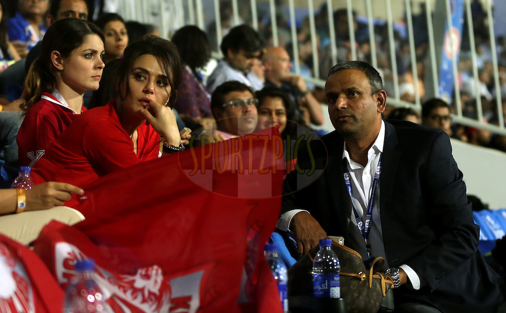 Preity Zinta owner of Kings XI Punjab and IPL CEO SUndar Raman during match 7 of the Pepsi Indian Premier League 2014 between the Rajasthan Royals and The Kings XI Punjab held at the Sharjah Cricket Stadium, Sharjah, United Arab Emirates on the 20th April 2014<br /> <br /> Photo by Sandeep Shetty / IPL / SPORTZPICS