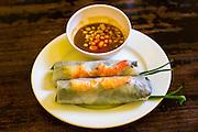 30 MARCH 2012 - HANOI, VIETNAM:   Fresh Shrimp spring rolls at Quan An Ngon, one of the most popular restaurants in Hanoi, Vietnam. PHOTO BY JACK KURTZ