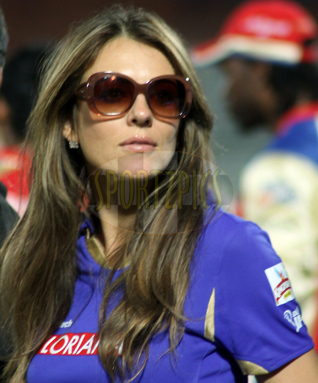 Elizabeth Hurley during match 55 of the the Indian Premier League ( IPL ) Season 4 between the Rajasthan Royals and the Royal Challengers Bangalore held at the Sawai Mansingh Stadium, Jaipur, Rajatshan, India on the 11th May 2011..Photo by Sandeep ShettyBCCI/SPORTZPICS.
