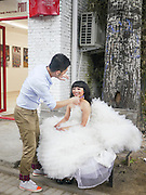 Chinese bride during a photo shoot Beijing, China