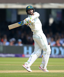 Pakistan's Mohammed Amir hits the ball during day three of the First NatWest Test Series match at Lord's, London.