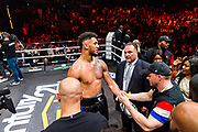 Tony Yoka (fra) during the Boxing event, La Conquete Tony Yoka, round 4, heavyweight boxing bout between Tony Yoka (FRA) and Cyril Leonet (FRA) on April 7, 2018 at Dome de Paris - Palais des Sports in Paris, France - Photo Pierre Charlier / ProSportsImages / DPPI