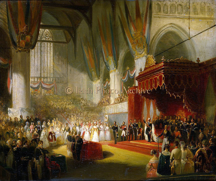 The Inauguration of King William II in the Nieuwe Kerk, Amsterdam, 28 November 1840 by Nicolaas Pieneman, c. 1840-50
