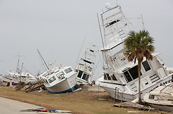 Stock photo of boats thrown onto shore during Hurricane Ike