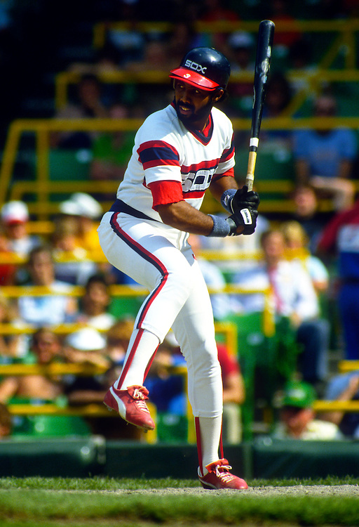 CHICAGO - 1985:  Harold Baines #3 of the Chicago White Sox bats during an MLB game at Comiskey Park in Chicago, Illinois.  Baines played for the White Sox from 1980-1989, and again from 1996-97 and 2000-2001.  (Photo by Ron Vesely)