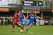 AFC Wimbledon defender Paul Robinson (6) clearing ball during the EFL Sky Bet League 1 match between AFC Wimbledon and Walsall at the Cherry Red Records Stadium, Kingston, England on 25 February 2017. Photo by Matthew Redman.