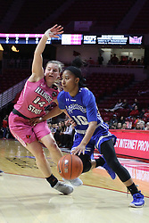 NORMAL, IL - February 10: Paige Saylor gets gut checked by Tamara Lee during a college women's basketball Play4Kay game between the ISU Redbirds and the Indiana State Sycamores on February 10 2019 at Redbird Arena in Normal, IL. (Photo by Alan Look)
