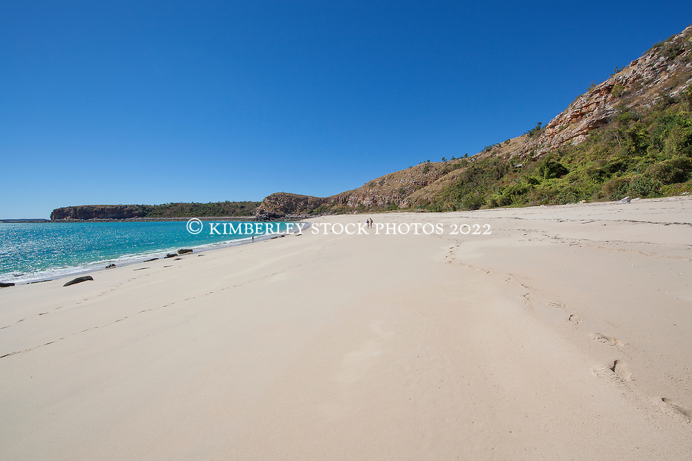 Tourists visit a remote beach on the Heyward Islands in northern Camden Sound on the Kimberley coast.