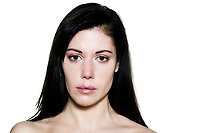 beautiful caucasian woman crying despair topless portrait on studio isolated white background