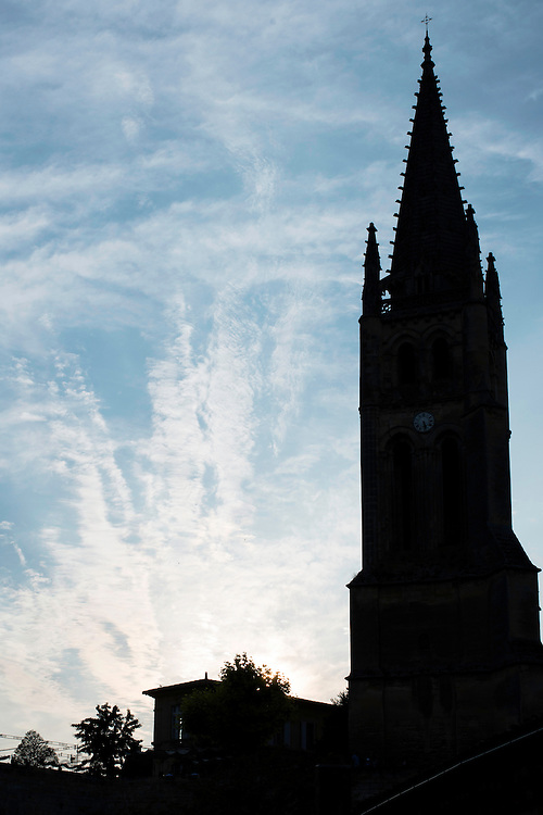 FRANCE, Saint Emilion<br /> The 53 mt/174 ft tall bell tower of the Monolithic Church (XII-XVI century)