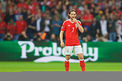LILLE, FRANCE - Friday, July 1, 2016: Wales' Joe Allen looks dejected as Belgium score the opening goal during the UEFA Euro 2016 Championship Quarter-Final match at the Stade Pierre Mauroy. (Pic by David Rawcliffe/Propaganda)