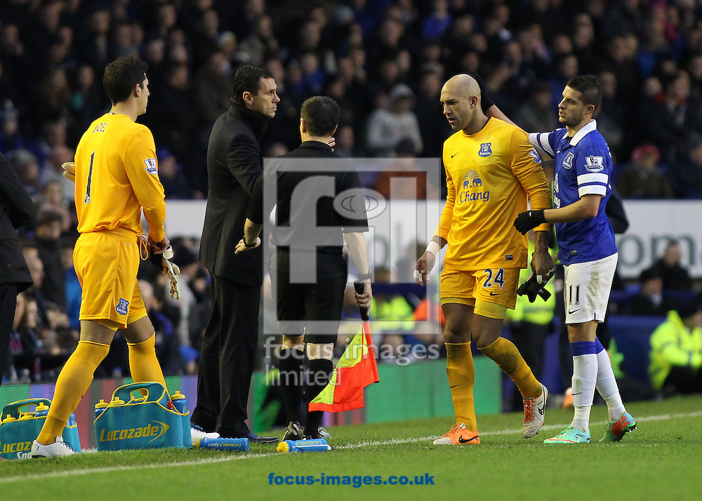 Picture by Michael Sedgwick/Focus Images Ltd +44 7900 363072<br /> 26/12/2013<br /> Tim Howard of Everton is consoled by Kevin Mirallas and Sunderland manager Gus Poyet after being sent off by referee Lee Probert during the Barclays Premier League match against Sunderland at Goodison Park, Liverpool.