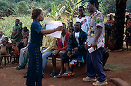 A local officer at the first health education gathering in Salapumbe, South East Cameroon, as part of the WWF Jengi project involving local communities.